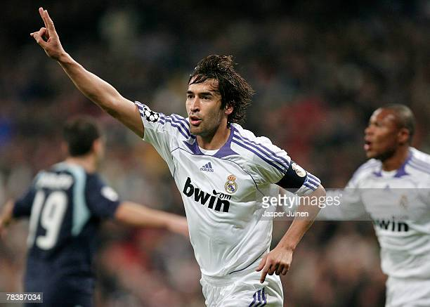 Raul Gonzalez of Real Madrid celebrates his goal during the UEFA Champions League Group C match between Real Madrid and Lazio at the Santiago...