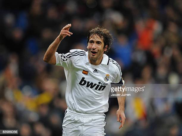 Raul Gonzalez of Real Madrid celebrates scoring during the UEFA Champions League Group H match between Real Madrid and Zenit St Petersburg at the...