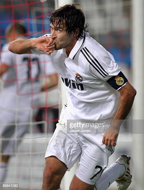 Raul Gonzalez of Real Madrid celebrates scoring the opening goal during the La Liga match between Almeria and Real Madrid at the Estadio de los...