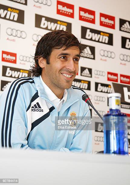 Raul Gonzalez of Real Madrid gives a press conference after a training session at Valdebebas on November 5 2009 in Madrid Spain