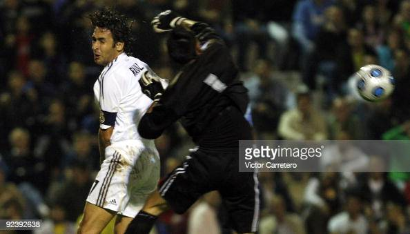 Raul Gonzalez of Real Madrid jumps for a high ball during the Copa del Rey match between AD Alcorcon and Real Madrid at Municipal de Santo Domingo on...