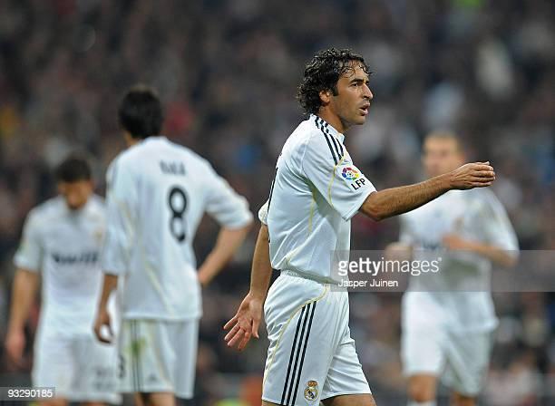 Raul Gonzalez of Real Madrid reacts during the La Liga match between Real Madrid and Racing Santander at Estadio Santiago Bernabeu on November 21...