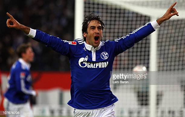 Raul Gonzalez of Schalke celebrates after scoring his teams third goal during the Bundesliga match between FC Schalke 04 and 1 FC Koeln at Veltins...