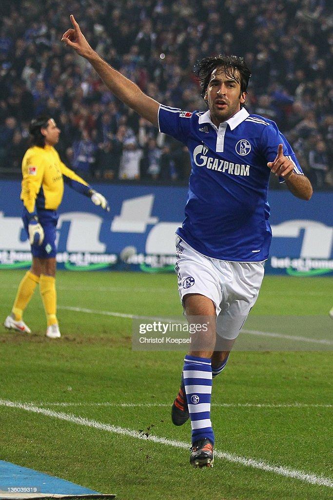 Raul Gonzalez of Schalke celebrates the first goal during the Bundesliga match between FC Schalke 04 and SV Werder Bremen at Veltins Arena on...