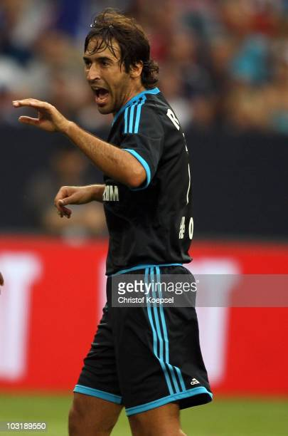 Raul Gonzalez of Schalke celebrates the second goal during the LIGA total Cup 2010 final match between FC Bayern Muenchen and FC Schalke 04 at the...