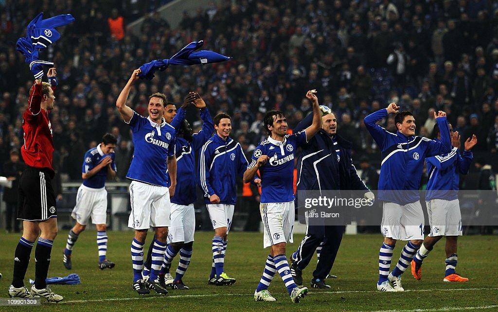 Raul Gonzalez of Schalke celebrates with team mates after winning during the UEFA Champions League round of 16 second leg match between Schalke 04...