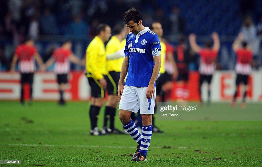 Raul Gonzalez of Schalke looks dejected after loosing the UEFA Europa League quarterfinal first leg match between FC Schalke 04 and Athletic Bilbao...