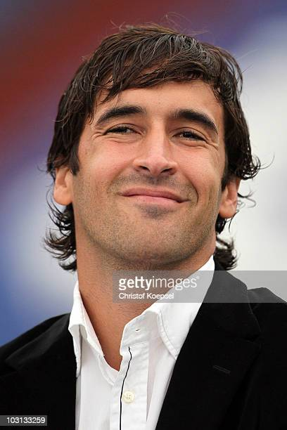 Raul Gonzalez smile during the FC Schalke press conference at the Veltins Arena on July 28 2010 in Gelsenkirchen Germany FC Schalke presents Raul...