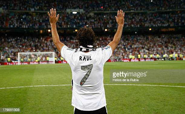 Raul Gonzalez the former Real Madrid player acknowledges the crowd after the Santiago Bernabeu Trophy match between Real Madrid CF and AlSadd at...