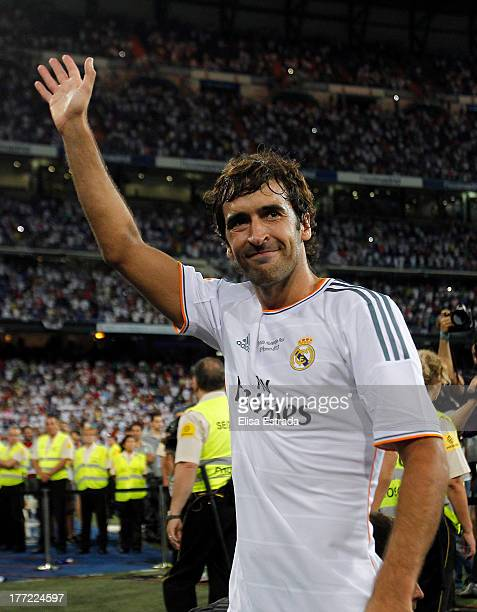 Raul Gonzalez waves to the crowd after the Santiago Bernabeu Trophy match between Real Madrid CF and AlSadd at Bernabeu on August 22 2013 in Madrid...