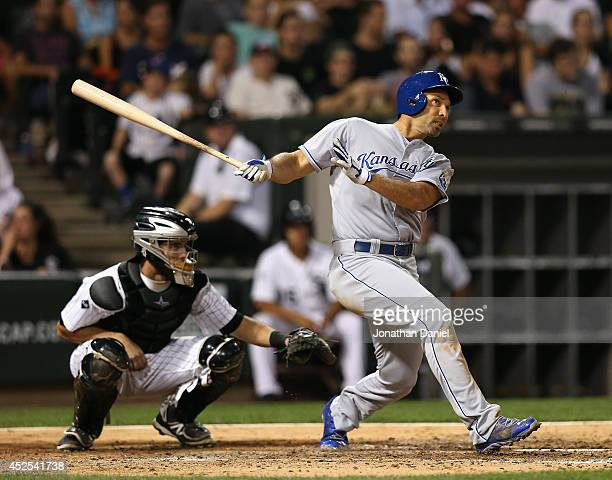 Raul Ibanez of the Kansas City Royals hits a runscoring double in the 6th inning against the Chicago White Sox at US Cellular Field on July 22 2014...