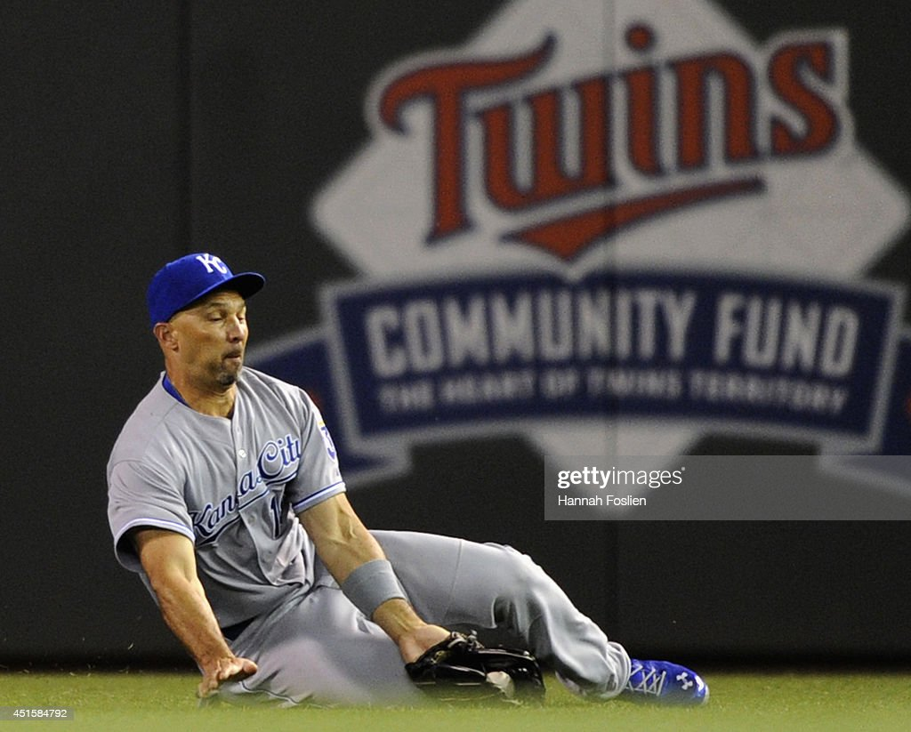 Raul Ibanez #18 of the Kansas City Royals makes a catch in right field on a ball off the bat of Eduardo Escobar #5 of the Minnesota Twins during the sixth inning of the game on July 1, 2014 at Target Field in Minneapolis, Minnesota.