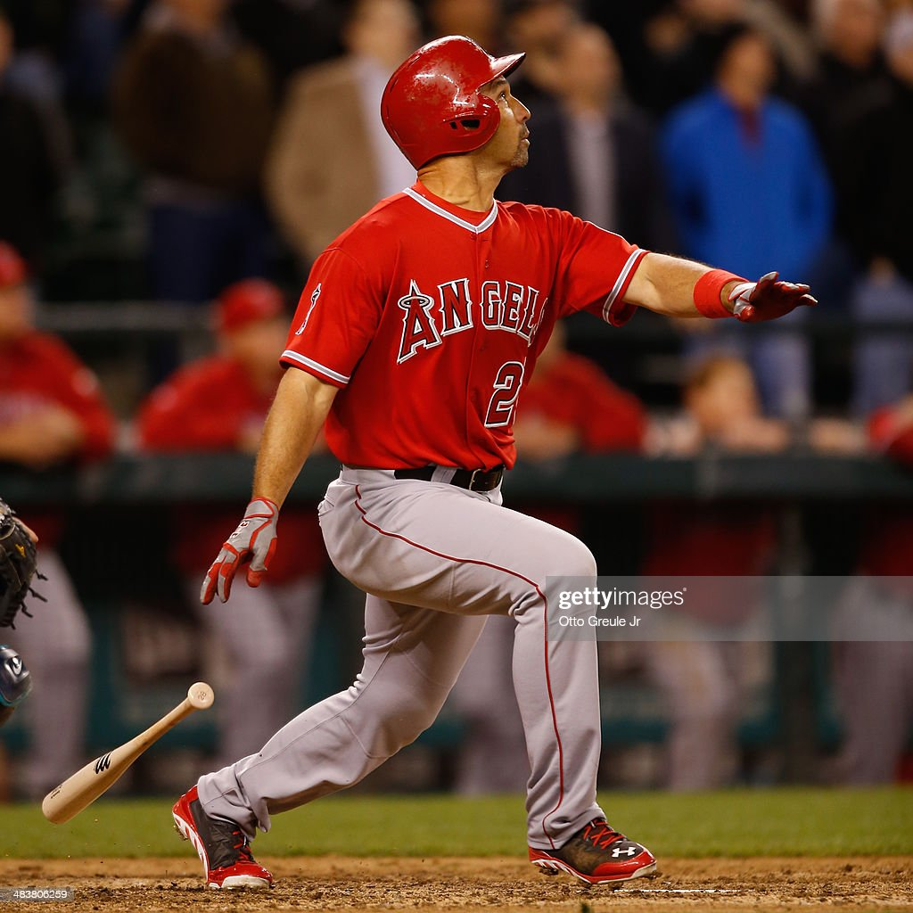 <a gi-track='captionPersonalityLinkClicked' href=/galleries/search?phrase=Raul+Ibanez&family=editorial&specificpeople=206118 ng-click='$event.stopPropagation()'>Raul Ibanez</a> #28 of the Los Angeles Angels of Anaheim bats in the ninth inning against the Seattle Mariners on Opening Day at Safeco Field on April 8, 2014 in Seattle, Washington.