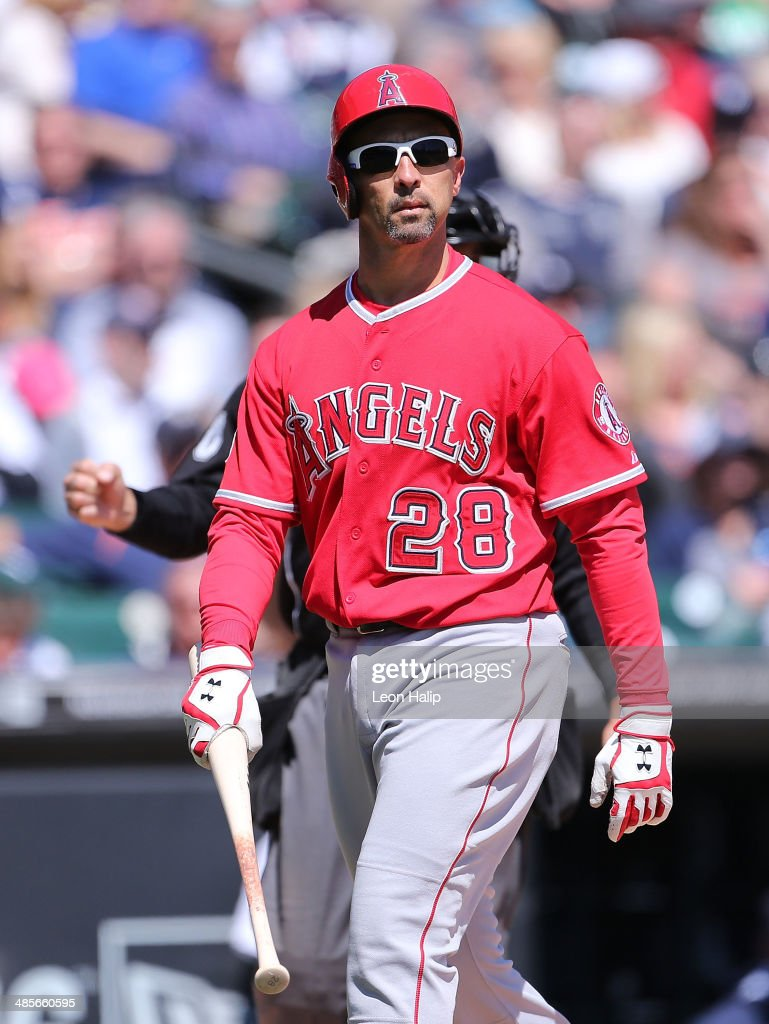 <a gi-track='captionPersonalityLinkClicked' href=/galleries/search?phrase=Raul+Ibanez&family=editorial&specificpeople=206118 ng-click='$event.stopPropagation()'>Raul Ibanez</a> #28 of the Los Angeles Angels of Anaheim reacts after striking out in the fourth inning of the game against the Detroit Tigers at Comerica Park on April 19, 2014 in Detroit, Michigan. The Tigers defeated the Angels 5-2.