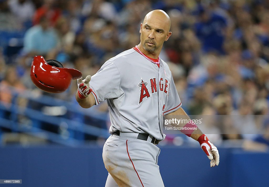 <a gi-track='captionPersonalityLinkClicked' href=/galleries/search?phrase=Raul+Ibanez&family=editorial&specificpeople=206118 ng-click='$event.stopPropagation()'>Raul Ibanez</a> #28 of the Los Angeles Angels of Anaheim reacts after striking out to end the fifth inning during MLB game action against the Toronto Blue Jays on May 11, 2014 at Rogers Centre in Toronto, Ontario, Canada.