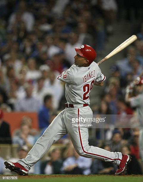 Raul Ibanez of the Philadelphia Phillies hits a three run home run in the eighth inning against the Los Angeles Dodgers in Game One of the NLCS...