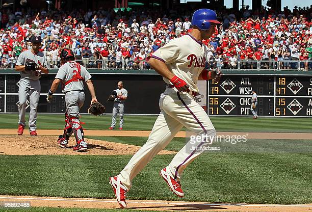 Raul Ibanez of the Philadelphia Phillies trots home after his fifth inning home run against Blake Hawksworth of the St Louis Cardinals at Citizens...