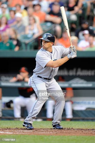 Raul Ibanez of the Seattle Mariners bats against the Baltimore Orioles at Oriole Park at Camden Yards on August 2 2013 in Baltimore Maryland