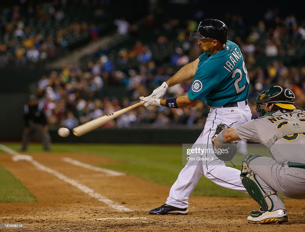 <a gi-track='captionPersonalityLinkClicked' href=/galleries/search?phrase=Raul+Ibanez&family=editorial&specificpeople=206118 ng-click='$event.stopPropagation()'>Raul Ibanez</a> #28 of the Seattle Mariners bats against the Oakland Athletics at Safeco Field on September 27, 2013 in Seattle, Washington.