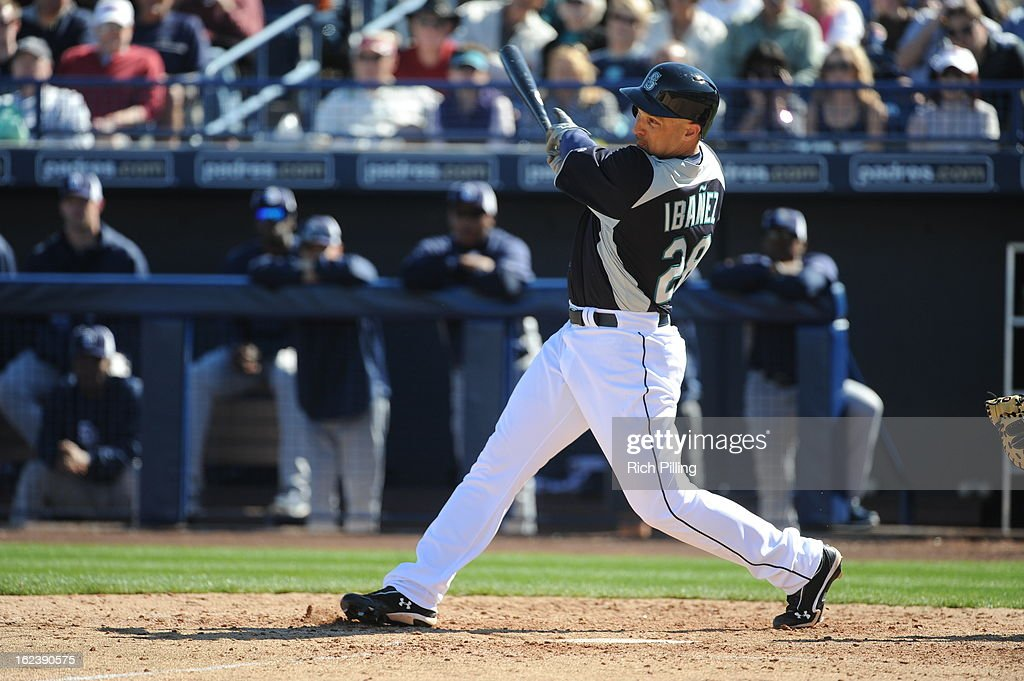 <a gi-track='captionPersonalityLinkClicked' href=/galleries/search?phrase=Raul+Ibanez&family=editorial&specificpeople=206118 ng-click='$event.stopPropagation()'>Raul Ibanez</a> #28 of the Seattle Mariners bats during the game against the San Diego Padres on Friday, February 22, 2013 at the Peoria Sports Complex in Peoria, Arizona. The Padres defeated the Mariners 9-3.