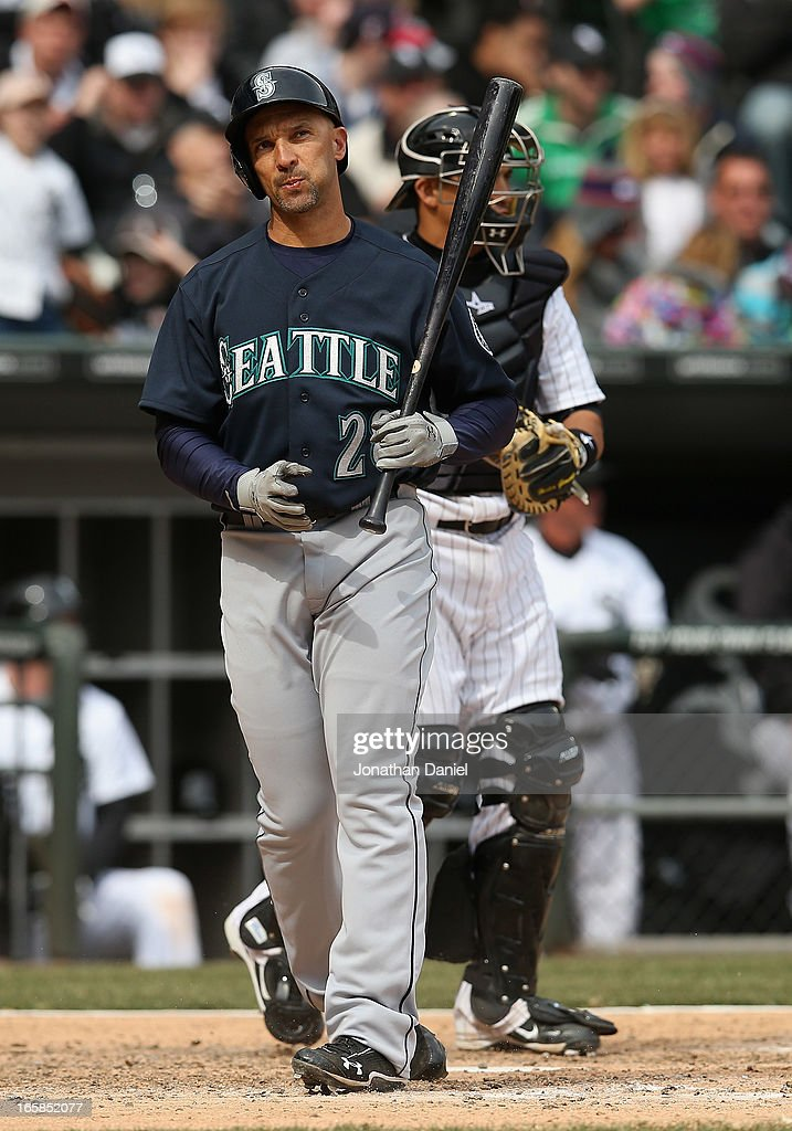 Raul Ibanez #28 of the Seattle Mariners reacts after striking out with men on base against the Chicago White Sox at U.S. Cellular Field on April 6, 2013 in Chicago, Illinois. The White Sox defeated the Mariners 4-3.