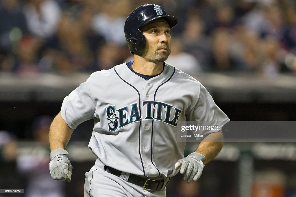 <a gi-track='captionPersonalityLinkClicked' href=/galleries/search?phrase=Raul+Ibanez&family=editorial&specificpeople=206118 ng-click='$event.stopPropagation()'>Raul Ibanez</a> #28 of the Seattle Mariners runs the base after hitting a two-run home run in the sixth inning against the Cleveland Indians at Progressive Field on May 17, 2013 in Cleveland, Ohio.