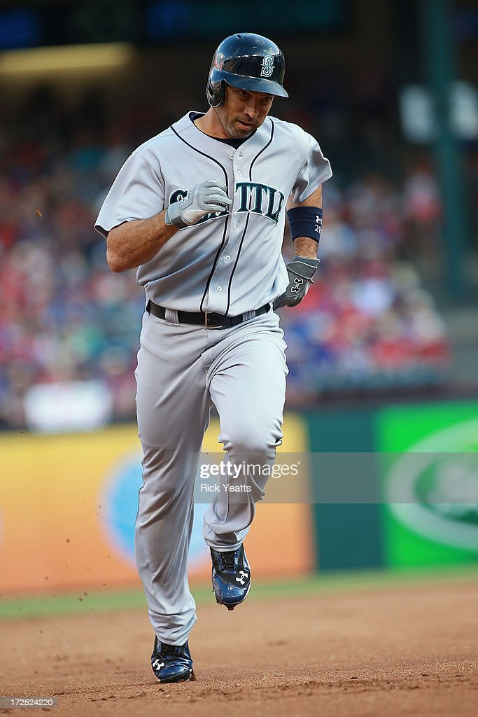 Raul Ibanez #28 of the Seattle Mariners runs the bases after hitting a home run in the first inning against the Texas Rangers at Rangers Ballpark in Arlington on July 2, 2013 in Arlington, Texas.