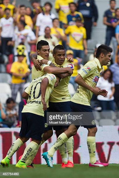 Raul Jimenez celebrates after scoring the first goal of his team during a match between America and Tijuana as part of 2nd round Apertura 2014 Liga...