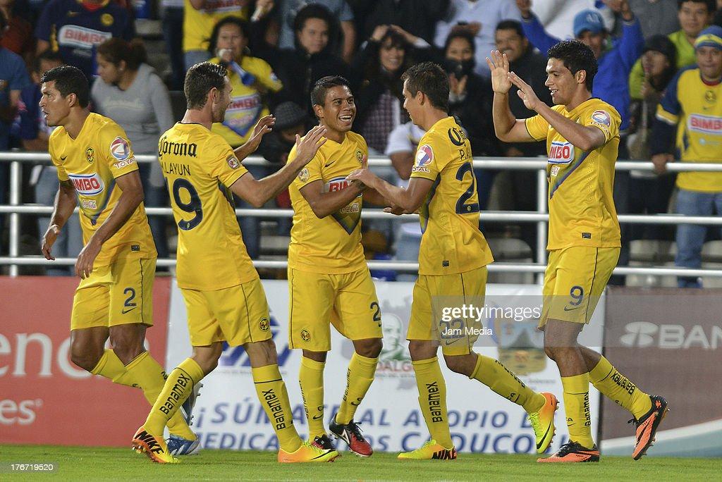 Raul Jimenez Francisco Javier Rodriguez Miguel Layun Juan Carlos Medina and Paul Aguilar of America celebrate score a goal against Pachuca during the...