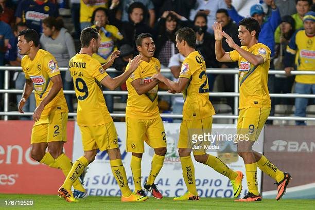 Raul Jimenez Francisco Javier Rodriguez Miguel Layun Juan Carlos Medina and Paul Aguilar of America celebrate score a goal against Pachuca during the...