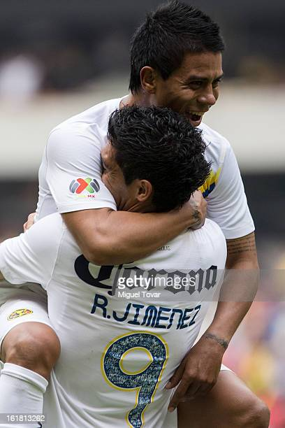 Raul Jimenez of America celebrates after scoreing with Juan Medina during a Clausura 2013 Liga MX match between America and Toluca at Azteca Stadium...