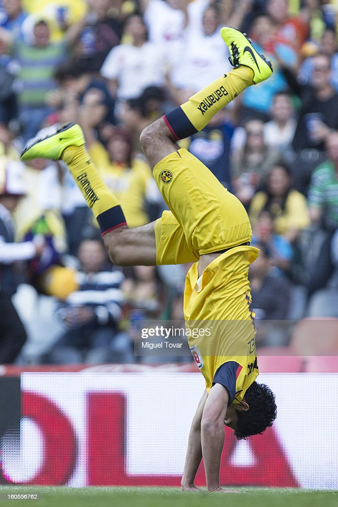 Raul Jimenez of America celebrates after scoring during a Clausura 2013 Liga MX match against Queretaro at Azteca Stadium on February 02, 2013 in Mexico City, Mexico.