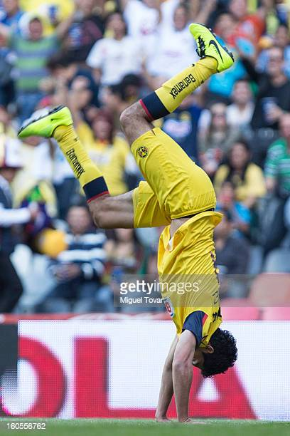 Raul Jimenez of America celebrates after scoring during a Clausura 2013 Liga MX match against Queretaro at Azteca Stadium on February 02 2013 in...