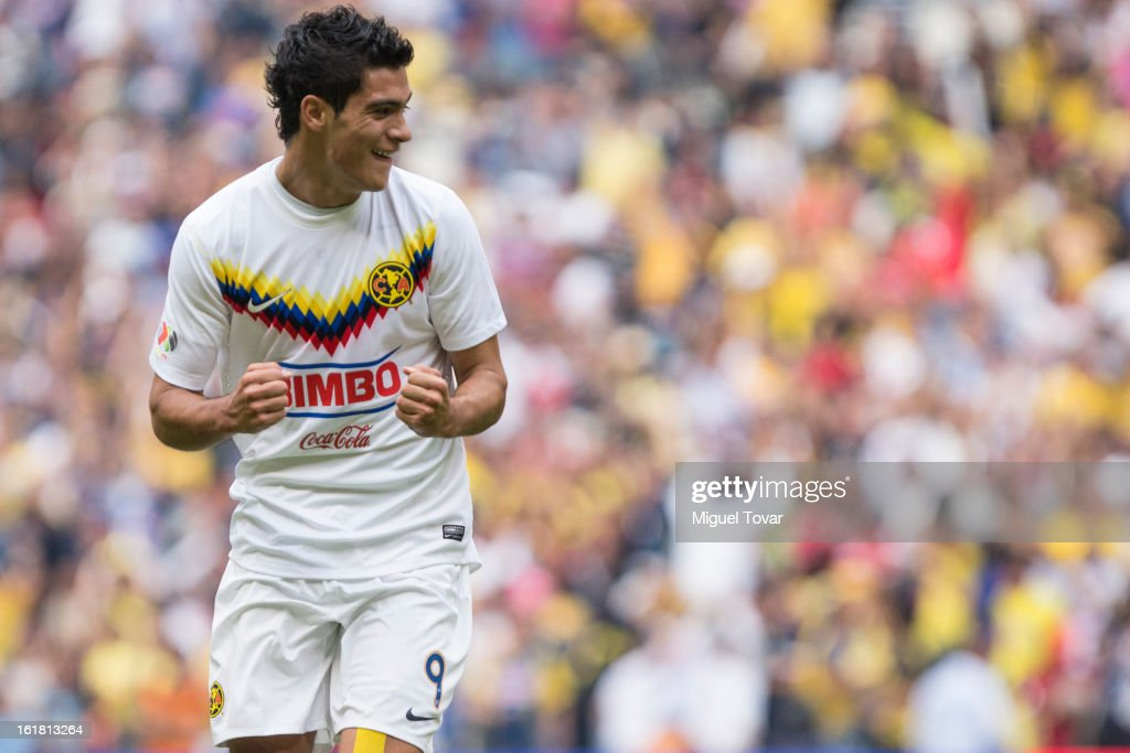 Raul Jimenez of America celebrates after scoring during a Clausura 2013 Liga MX match between America and Toluca at Azteca Stadium on February 16, 2013 in Mexico City, Mexico.