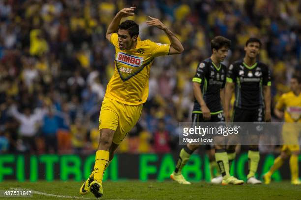 Raul Jimenez of America celebrates after scoring the second goal of his team during the Quarterfinal first leg match between America and Santos...
