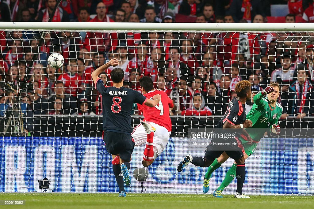 Raul Jimenez of Benfica scores the opening goal during the UEFA Champions League quarter final second leg match between SL Benfica and FC Bayern...