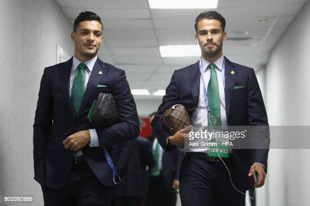 Raul Jimenez of Mexico and Diego Reyes of Mexico arrive at the stadium prior to the FIFA Confederations Cup Russia 2017 SemiFinal between Germany and...