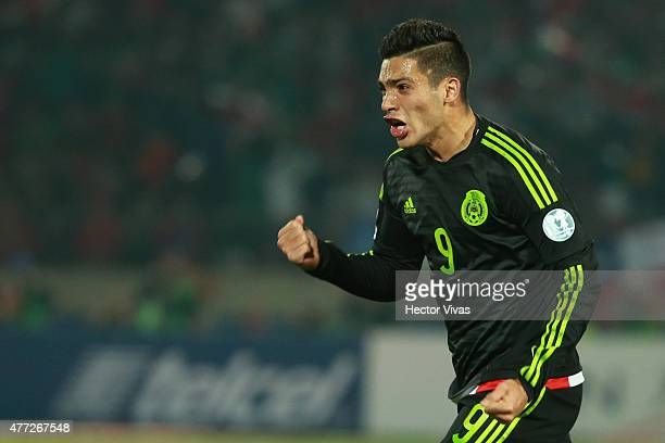 Raul Jimenez of Mexico celebrates after scoring the second goal of his team during the 2015 Copa America Chile Group A match between Chile and Mexico...