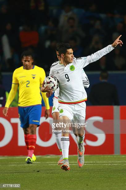 Raul Jimenez of Mexico celebrates after scoring the second goal of his team through a penalty kick during the 2015 Copa America Chile Group A match...