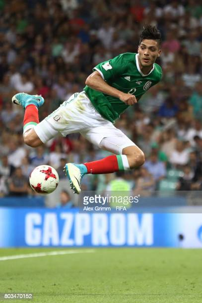 Raul Jimenez of Mexico controls the ball during the FIFA Confederations Cup Russia 2017 SemiFinal between Germany and Mexico at Fisht Olympic Stadium...