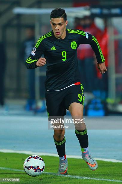 Raul Jimenez of Mexico drives the ball during the 2015 Copa America Chile Group A match between Chile and Mexico at Nacional Stadium on June 15 2015...