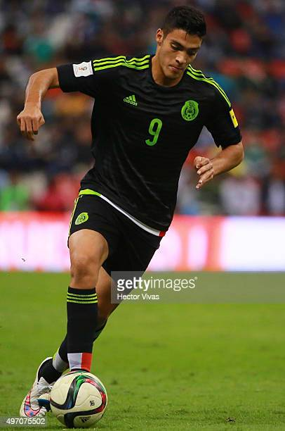Raul Jimenez of Mexico drives the ball during the match between Mexico and El Salvador as part of the 2018 FIFA World Cup Qualifiers at Azteca...