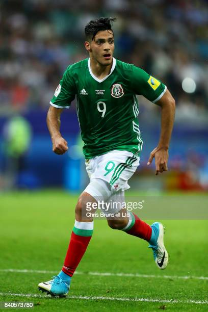Raul Jimenez of Mexico in action during the FIFA Confederations Cup Russia 2017 SemiFinal between Germany and Mexico at Fisht Olympic Stadium on June...
