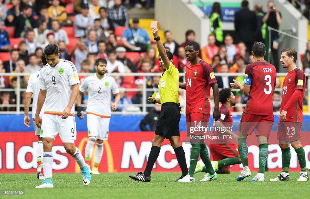 Raul Jimenez of Mexico is shown a red card by Referee Fahad Al Mirdasi during the FIFA Confederations Cup Russia 2017 Play-Off for Third Place between Portugal and Mexico at Spartak Stadium on July 2, 2017 in Moscow, Russia.