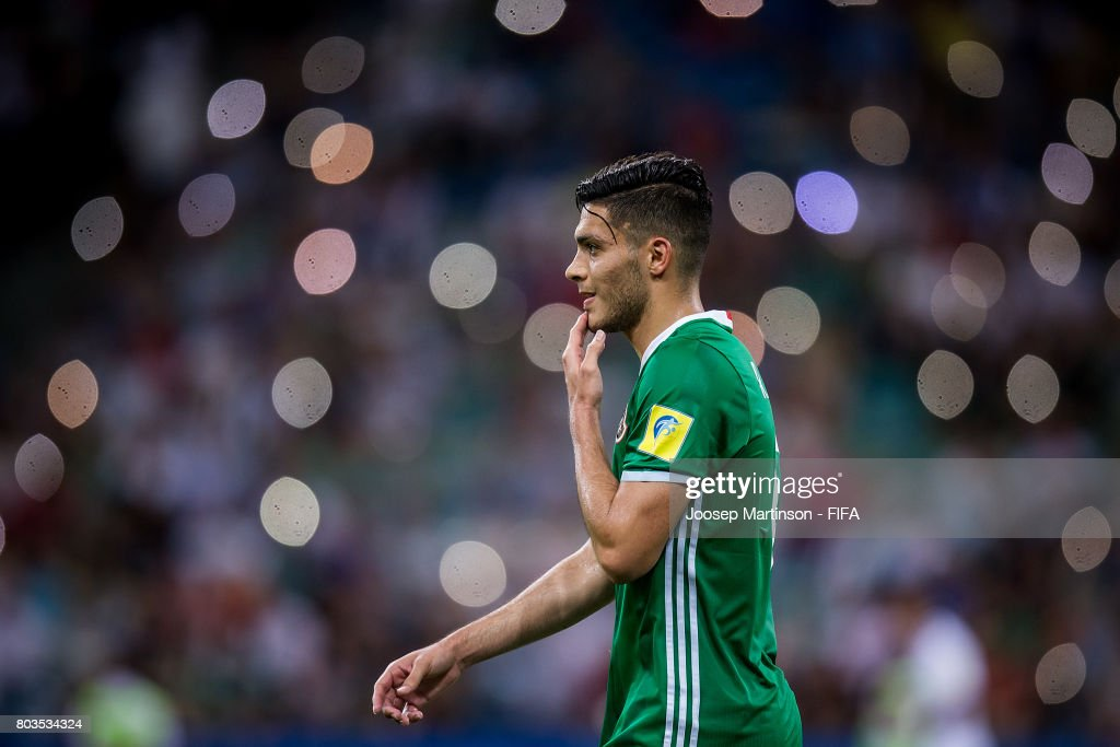 Raul Jimenez of Mexico looks dejected during FIFA Confederations Cup Russia semi-final match between Germany and Mexico at Fisht Olympic Stadium on June 29, 2017 in Sochi, Russia.
