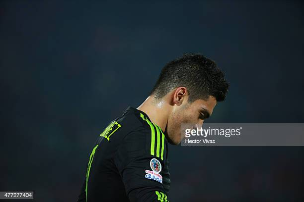 Raul Jimenez of Mexico looks on during the 2015 Copa America Chile Group A match between Chile and Mexico at Nacional Stadium on June 15 2015 in...