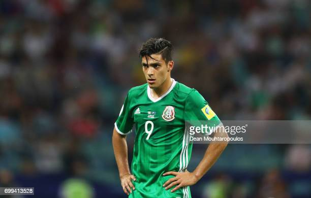 Raul Jimenez of Mexico looks on during the FIFA Confederations Cup Russia 2017 Group A match between Mexico and New Zealand at Fisht Olympic Stadium...