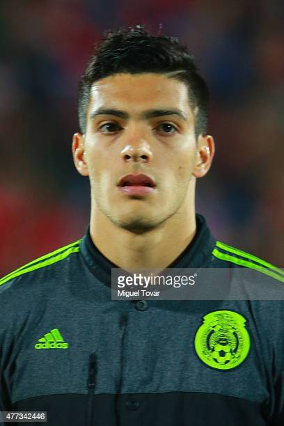 Raul Jimenez of Mexico looks on during the national anthem ceremony prior the 2015 Copa America Chile Group A match between Chile and Mexico at...