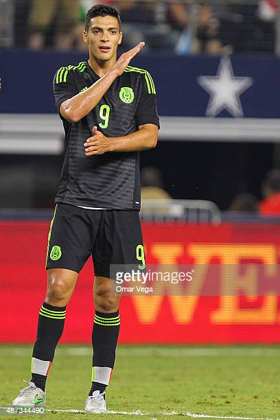Raul Jimenez of Mexico reacts during a friendly match between Argentina and Mexico at ATT Stadium on September 08 2015 in Arlington United States