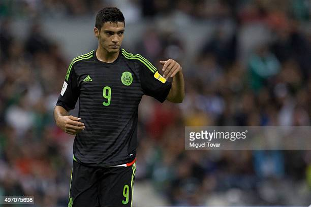 Raul Jimenez of Mexico reacts during the match between Mexico and El Salvador as part of the 2018 FIFA World Cup Qualifiers at Azteca Stadium on...